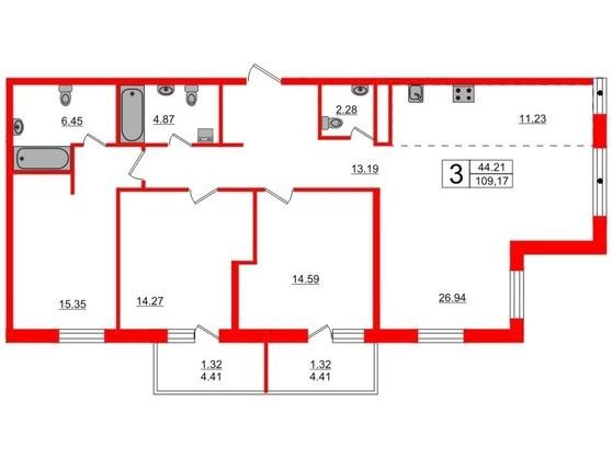4-комнатная квартира, 109.36 м²; этаж: 2 - купить в Санкт-Петербурге