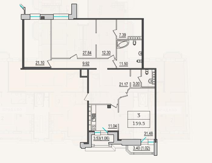 3-комнатная квартира №9 в: 4-я Советская, 9: 157.4 м²; этаж: 7 - купить в Санкт-Петербурге