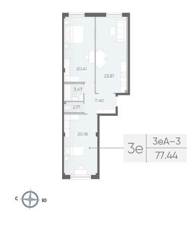 2-комнатная квартира №17А в: Neva Residence: 77.44 м²; этаж: 3 - купить в Санкт-Петербурге