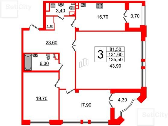 3-комнатная квартира №7 в: Victory Plaza: 131.6 м²; этаж: 2 - купить в Санкт-Петербурге