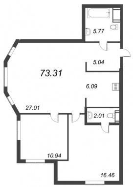 2-комнатная квартира №72 в: ID Moskovskiy: 73.31 м²; этаж: 6 - купить в Санкт-Петербурге