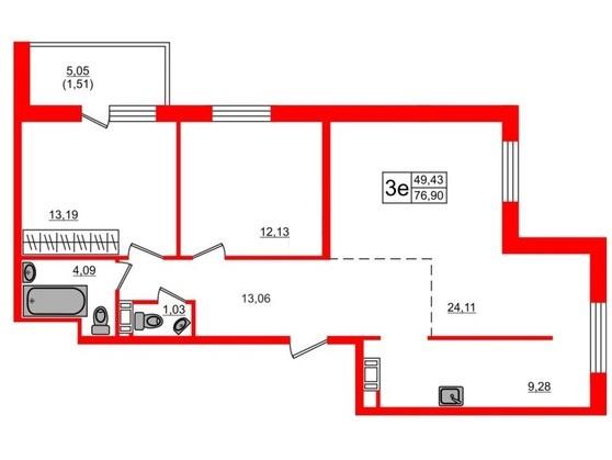 3-комнатная квартира, 76.5 м²; этаж: 12 - купить в Санкт-Петербурге