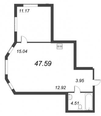 1-комнатная квартира №72 в: ID Moskovskiy: 47.59 м²; этаж: 3 - купить в Санкт-Петербурге