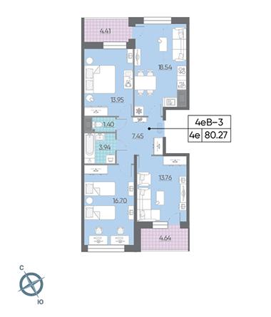 4-комнатная квартира, 80.27 м²; этаж: 15 - купить в Санкт-Петербурге