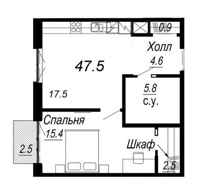 1-комнатная квартира №27 в: Meltzer Hall: 47.5 м²; этаж: 6 - купить в Санкт-Петербурге