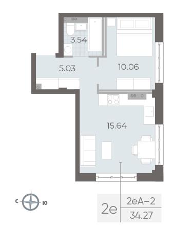 1-комнатная квартира №17А в: Neva Residence: 34.27 м²; этаж: 3 - купить в Санкт-Петербурге