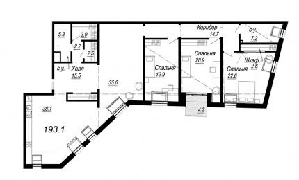 4-комнатная квартира, 193.1 м²; этаж: 7 - купить в Санкт-Петербурге
