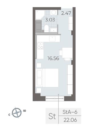 1-комнатная квартира №17А в: Neva Residence: 22.6 м²; этаж: 4 - купить в Санкт-Петербурге