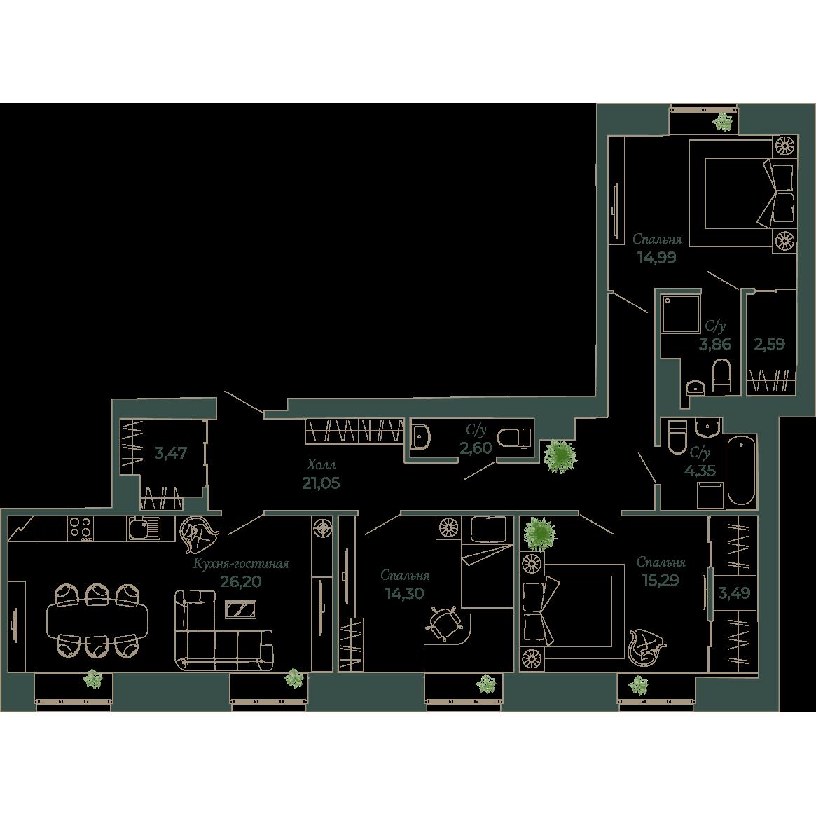 4-комнатная квартира, 111.9 м²; этаж: 4 - купить в Санкт-Петербурге