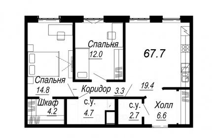 2-комнатная квартира №27 в: Meltzer Hall: 67.7 м²; этаж: 5 - купить в Санкт-Петербурге