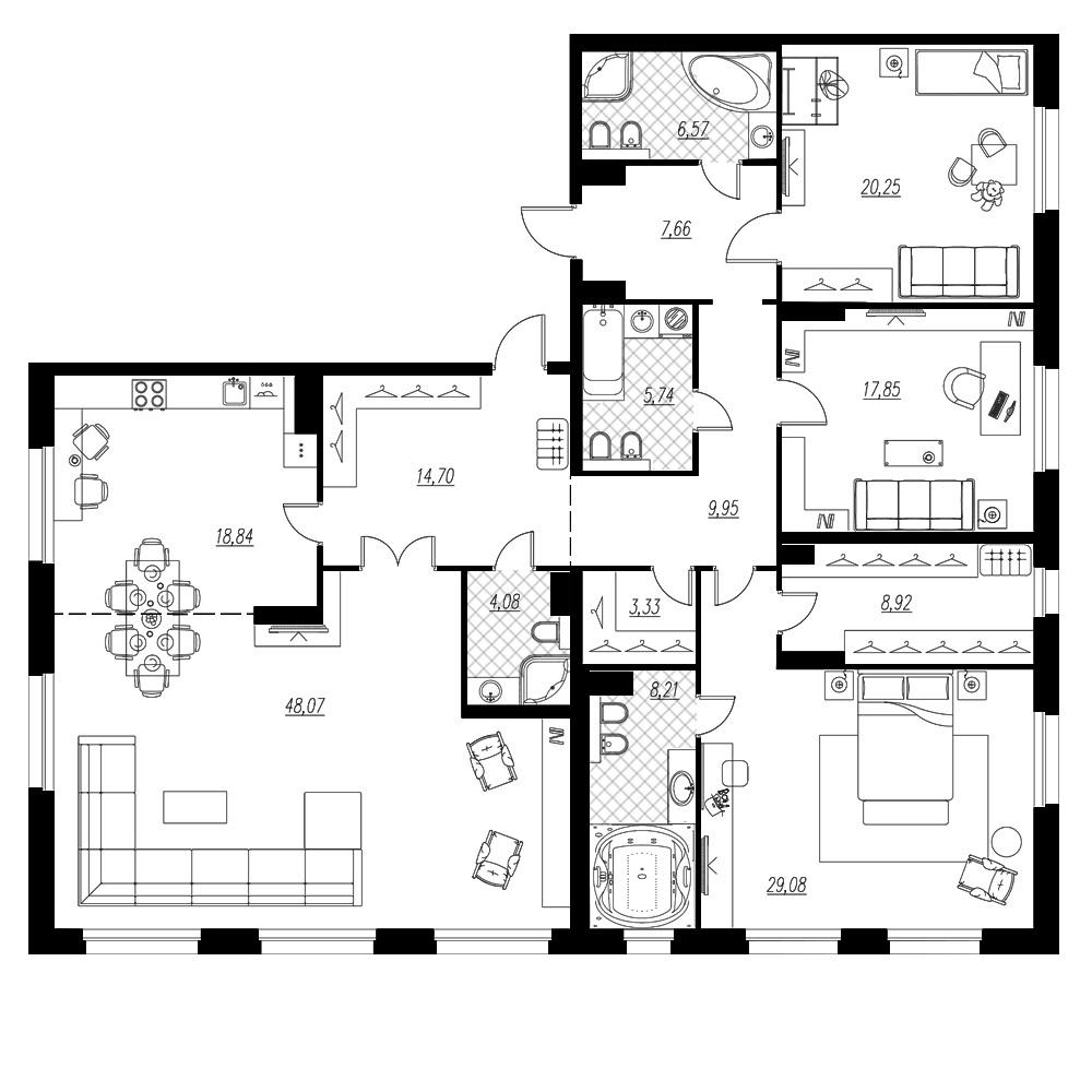4-комнатная квартира, 203.25 м²; этаж: 3 - купить в Санкт-Петербурге