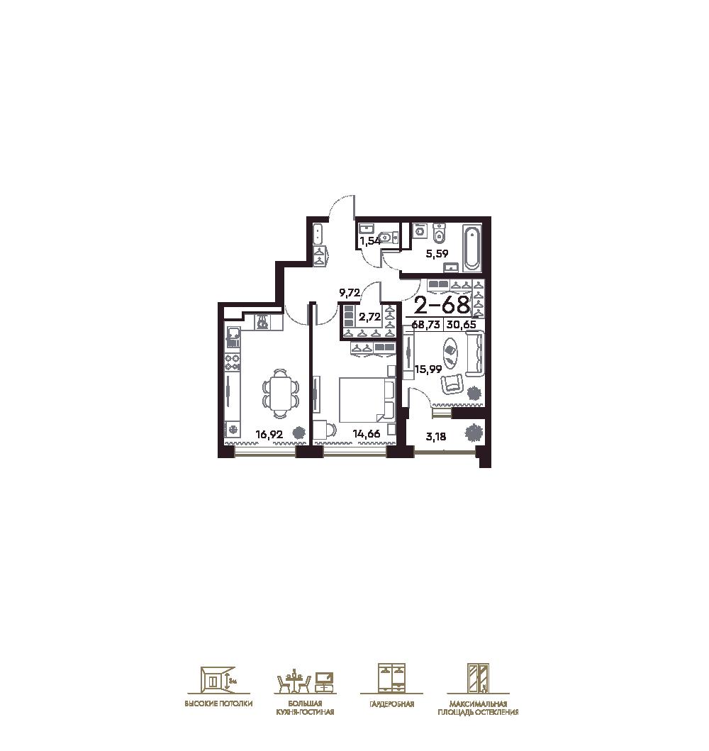 2-комнатная квартира №20, лит. С в: ЖК Фамилия: 68.73 м²; этаж: 6 - купить в Санкт-Петербурге