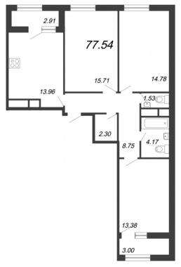 3-комнатная квартира, 77.54 м²; этаж: 12 - купить в Санкт-Петербурге