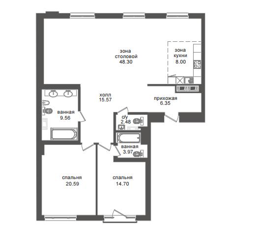 2-комнатная квартира №32А в: Приоритет: 129.04 м²; этаж: 4 - купить в Санкт-Петербурге