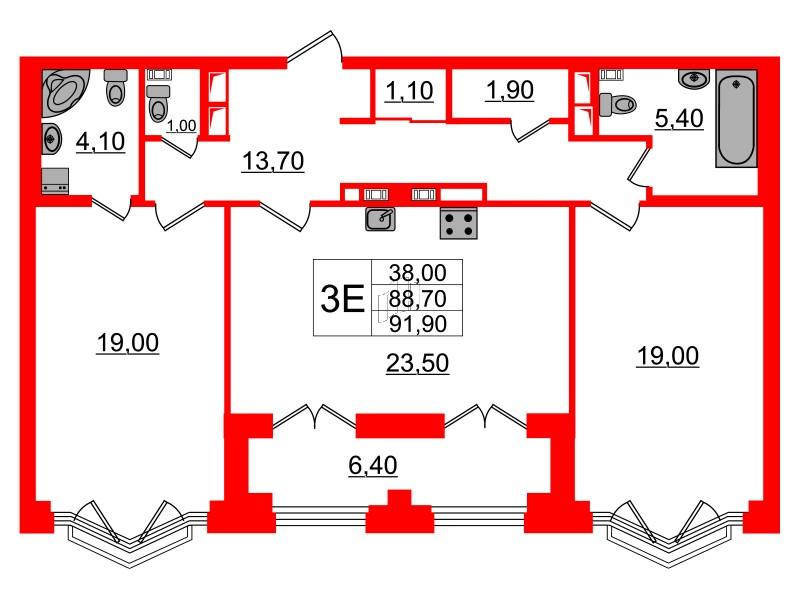 2-комнатная квартира, 88.7 м²; этаж: 4 - купить в Санкт-Петербурге