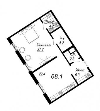 1-комнатная квартира №27 в: Meltzer Hall: 68.1 м²; этаж: 5 - купить в Санкт-Петербурге