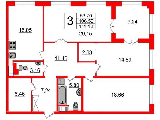 3-комнатная квартира, 106.4 м²; этаж: 8 - купить в Санкт-Петербурге