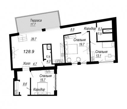 2-комнатная квартира  №19-6 в Meltzer Hall : 128.9 м², этаж 6 - купить в Санкт-Петербурге