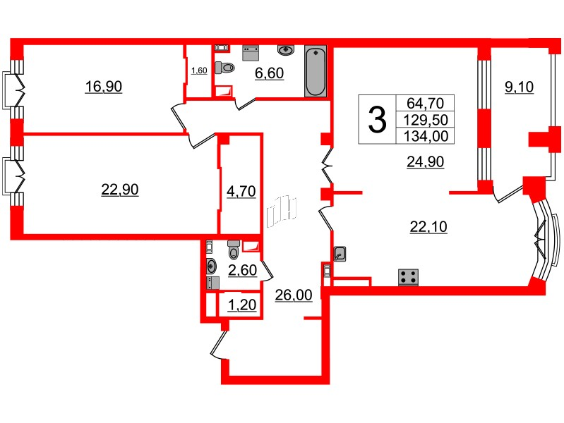 3-комнатная квартира, 129.5 м²; этаж: 6 - купить в Санкт-Петербурге