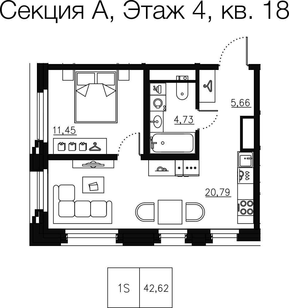 1-комнатная квартира №68 в: Малоохтинский 68: 44.41 м²; этаж: 4 - купить в Санкт-Петербурге