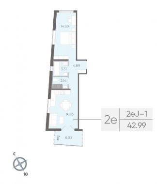 1-комнатная квартира, 42.99 м²; этаж: 6 - купить в Санкт-Петербурге