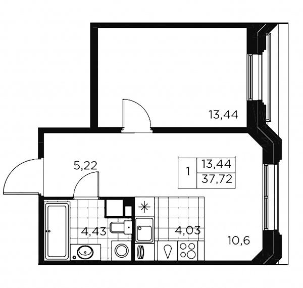 1-комнатная квартира, 37.72 м²; этаж: 5 - купить в Санкт-Петербурге