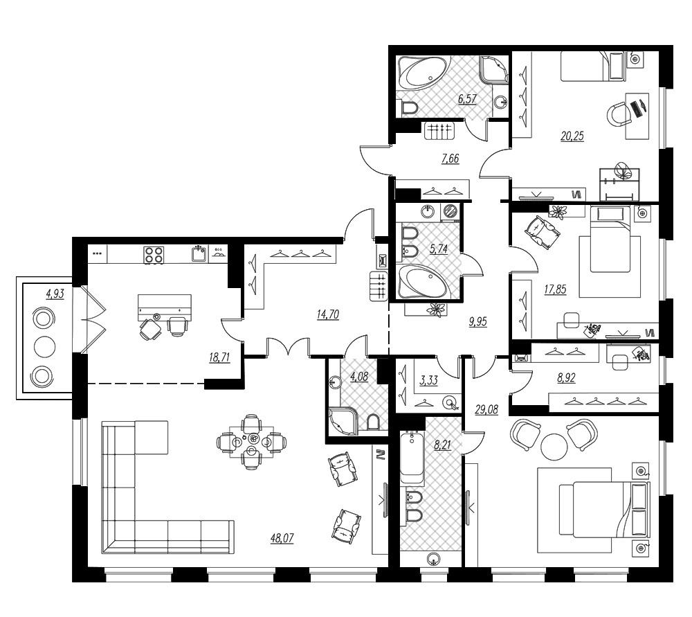 4-комнатная квартира, 204.6 м²; этаж: 7 - купить в Санкт-Петербурге