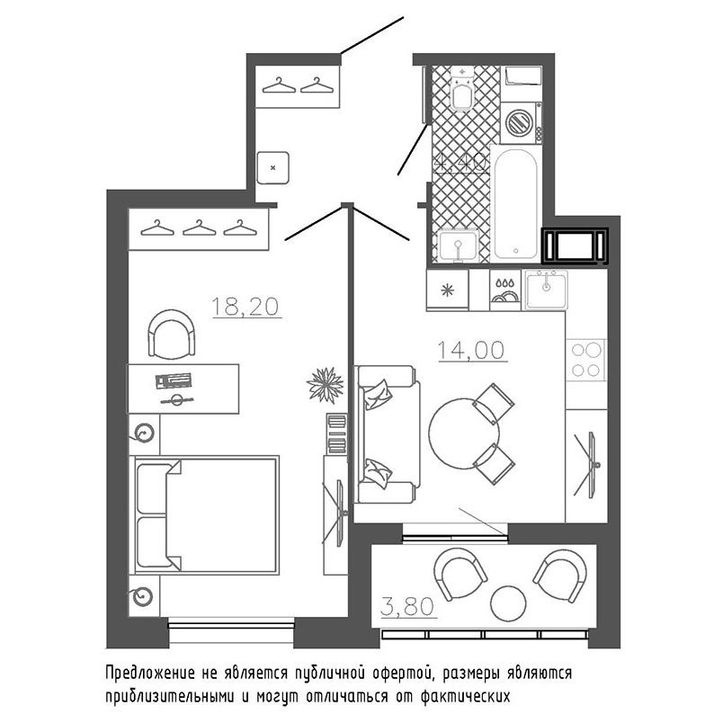 1-комнатная квартира №8к.1 в: Галактика Премиум: 43.5 м²; этаж: 5 - купить в Санкт-Петербурге