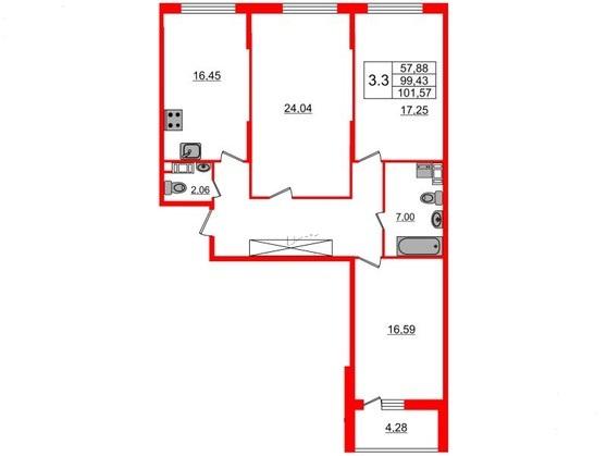 3-комнатная квартира №66 в: Притяжение: 101.22 м²; этаж: 6 - купить в Санкт-Петербурге