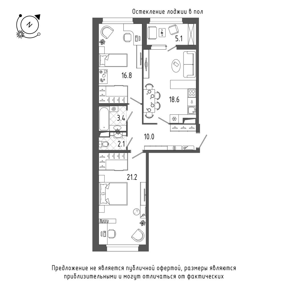 2-комнатная квартира, 74.7 м²; этаж: 8 - купить в Санкт-Петербурге