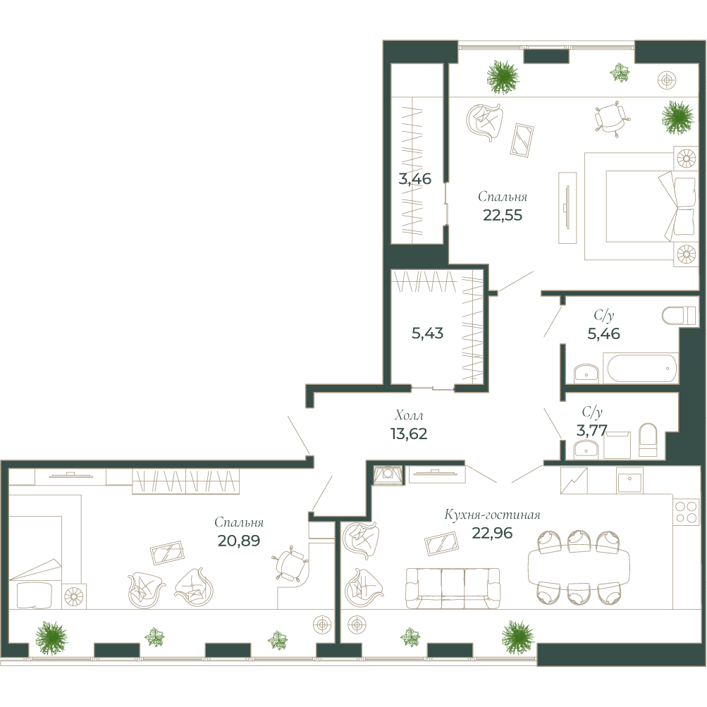 3-комнатная квартира, 96.4 м²; этаж: 8 - купить в Санкт-Петербурге