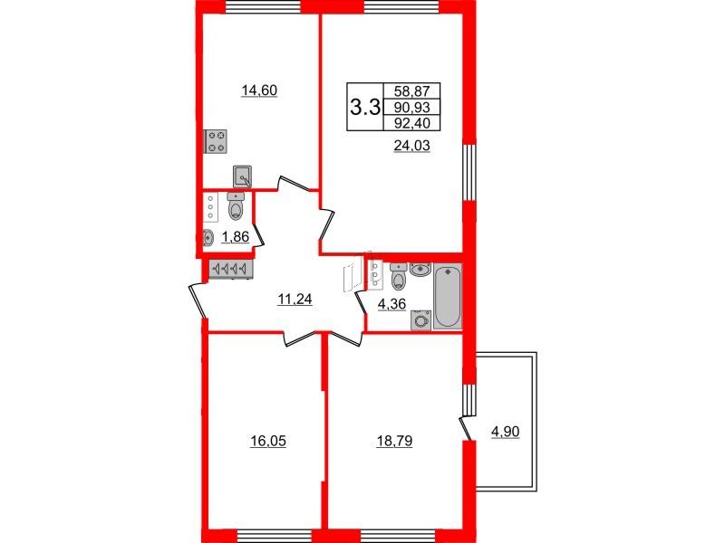 3-комнатная квартира, 90.93 м²; этаж: 3 - купить в Санкт-Петербурге