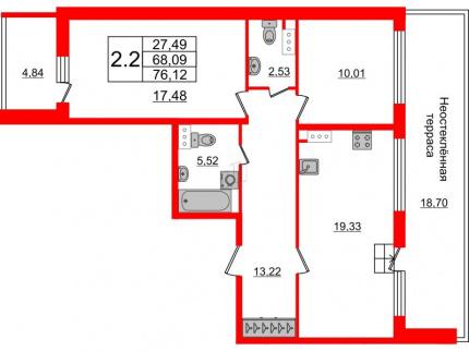 2-комнатная квартира №66 в: Притяжение: 68.09 м²; этаж: 9 - купить в Санкт-Петербурге