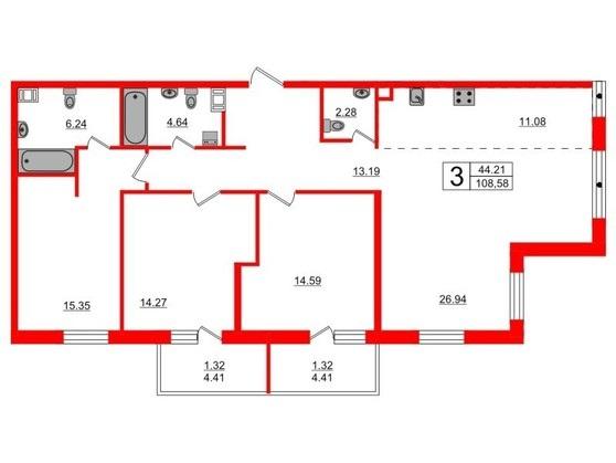 4-комнатная квартира, 108.87 м²; этаж: 3 - купить в Санкт-Петербурге
