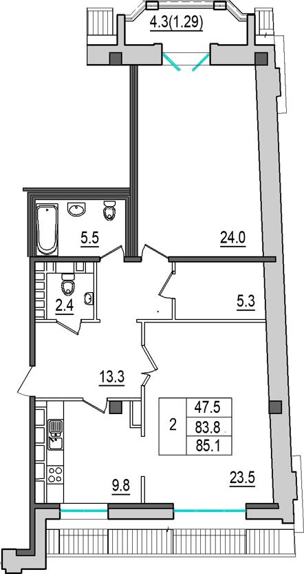 2-комнатная квартира №9 в: 4-я Советская, 9: 83.8 м²; этаж: 8 - купить в Санкт-Петербурге