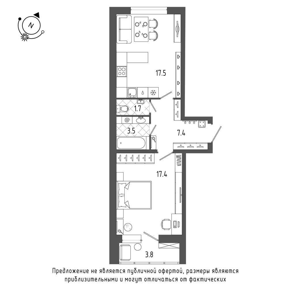 1-комнатная квартира №70 в: ЖК Эталон на Неве: 49.4 м²; этаж: 8 - купить в Санкт-Петербурге