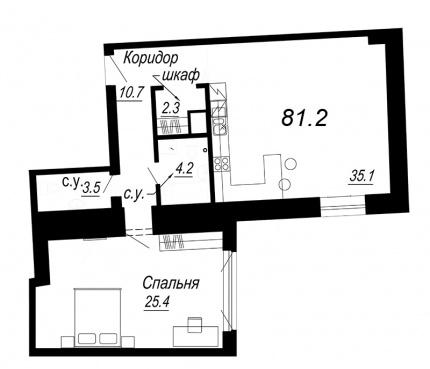 1-комнатная квартира №27 в: Meltzer Hall: 81.2 м²; этаж: 4 - купить в Санкт-Петербурге
