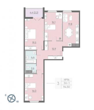 3-комнатная квартира, 94.6 м²; этаж: 13 - купить в Санкт-Петербурге
