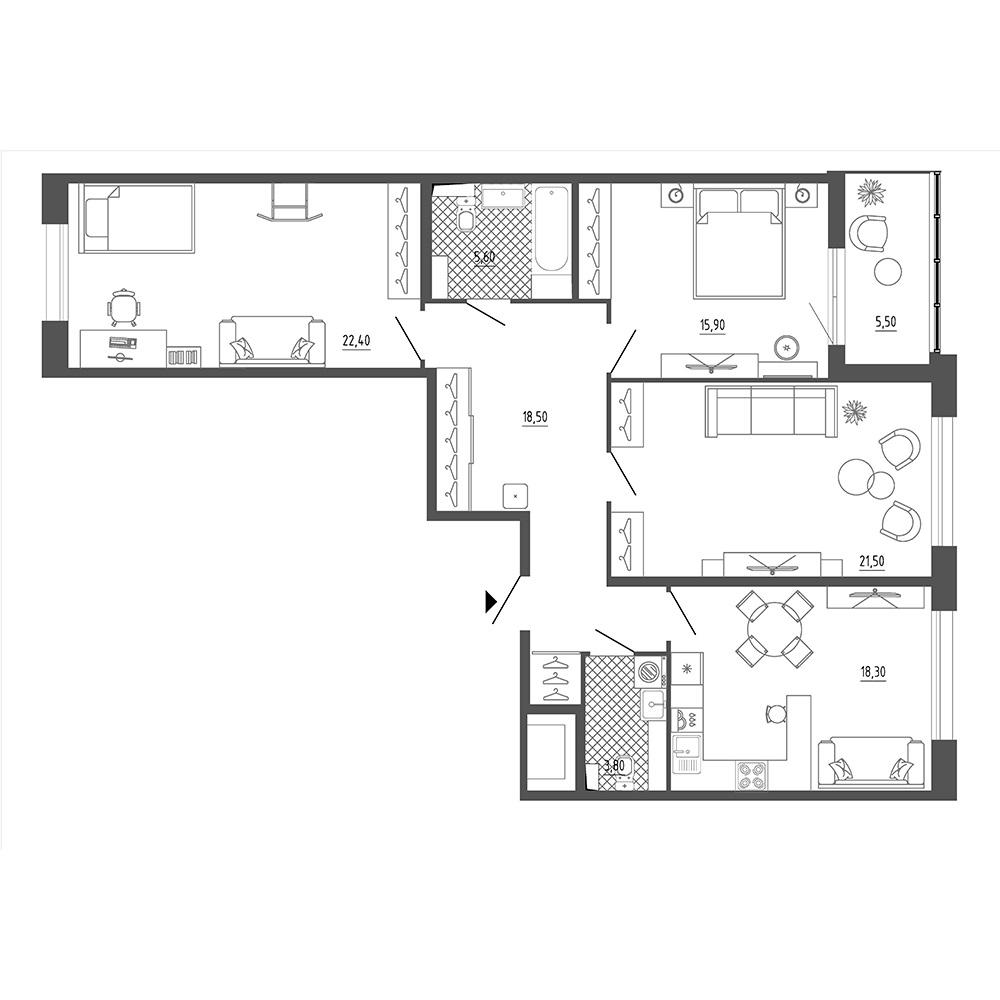 3-комнатная квартира, 108.8 м²; этаж: 17 - купить в Санкт-Петербурге