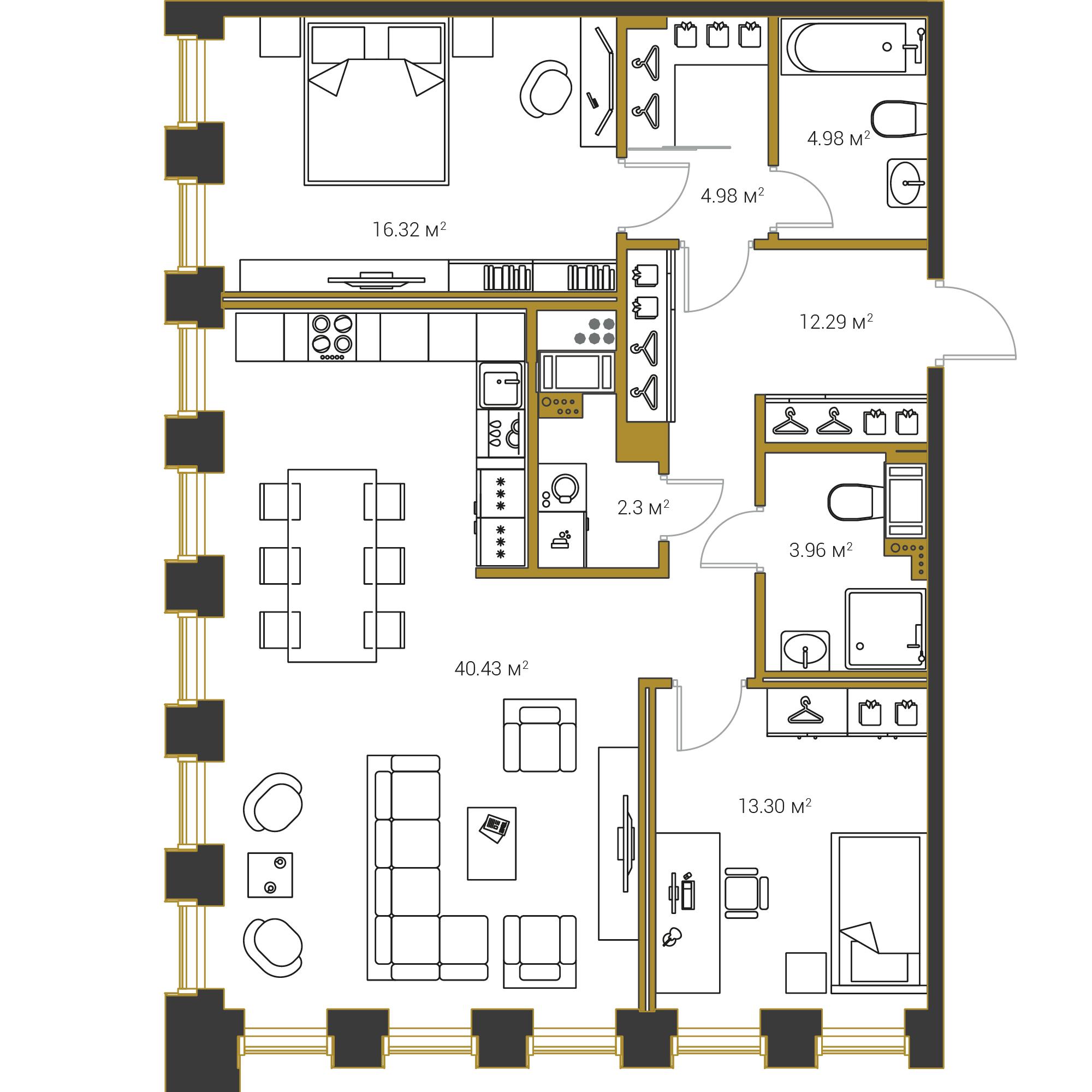 2-комнатная квартира №16 в: Институтский,16: 98.53 м²; этаж: 5 - купить в Санкт-Петербурге