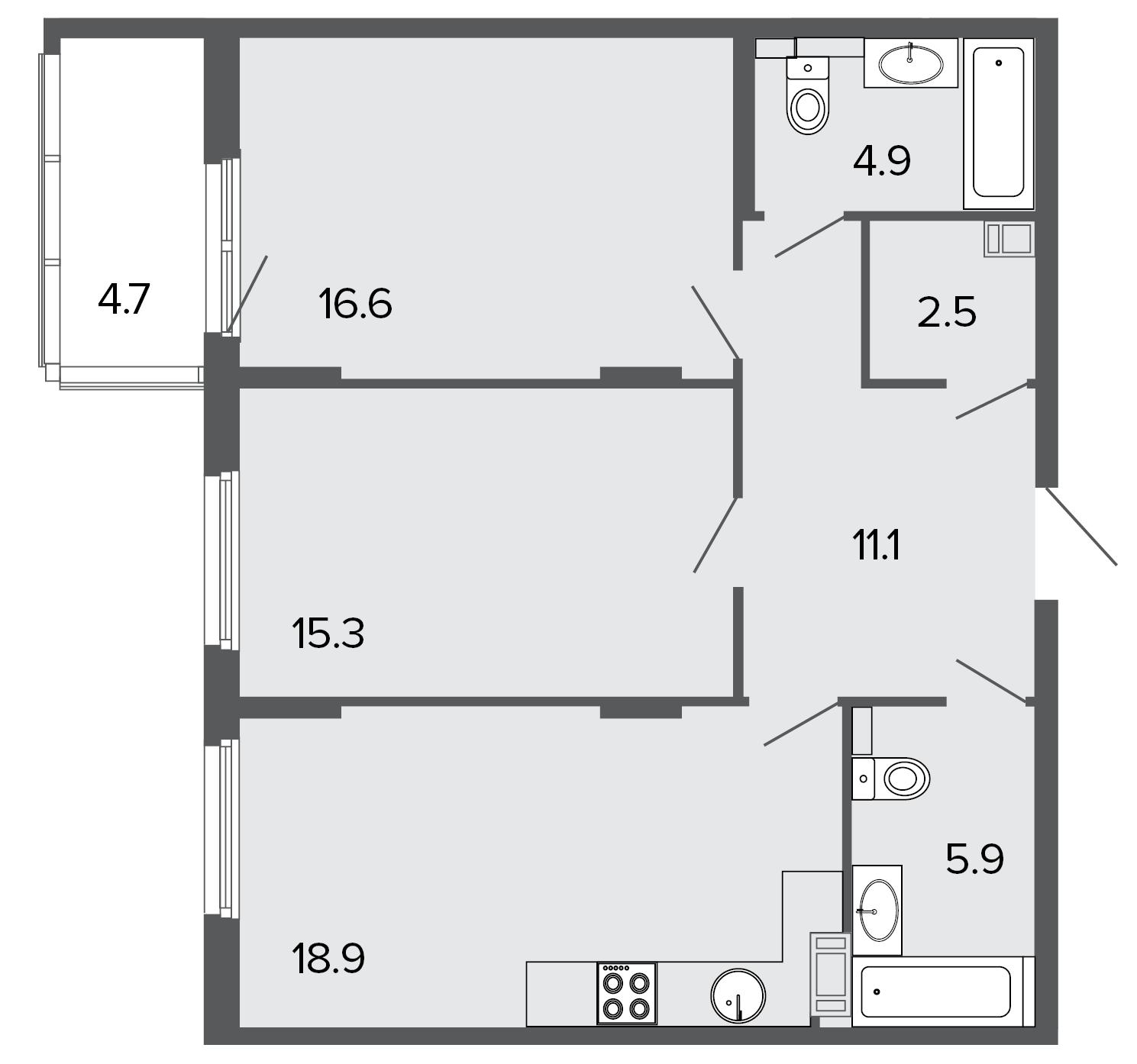 2-комнатная квартира, 75.3 м²; этаж: 4 - купить в Санкт-Петербурге
