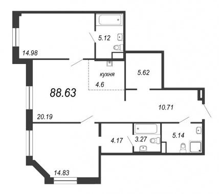 2-комнатная квартира, 88.63 м²; этаж: 3 - купить в Санкт-Петербурге