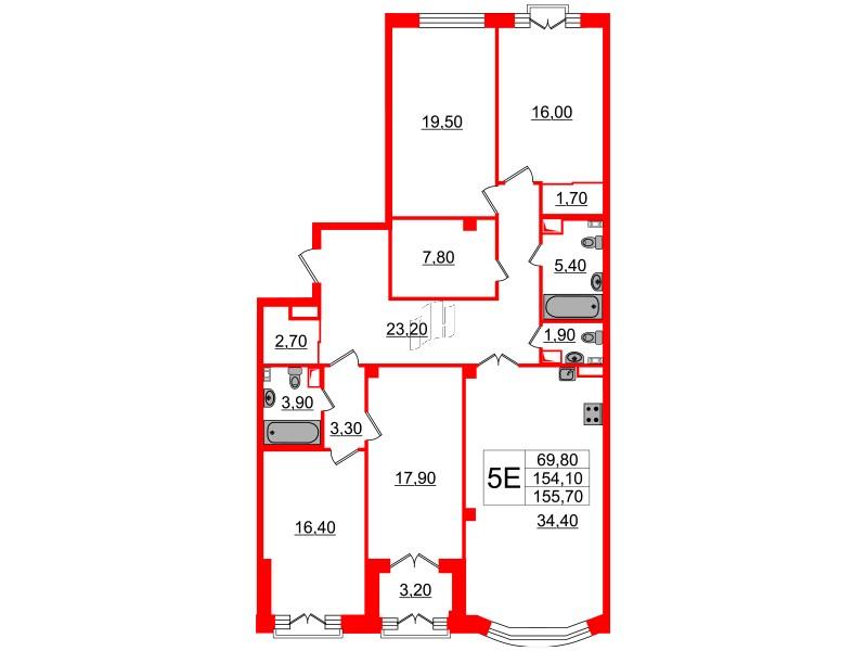 4-комнатная квартира, 154.1 м²; этаж: 4 - купить в Санкт-Петербурге
