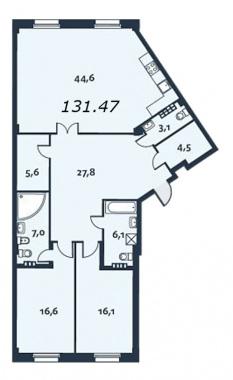 2-комнатная квартира, 131.7 м²; этаж: 4 - купить в Санкт-Петербурге