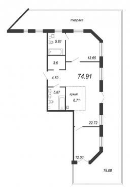 2-комнатная квартира, 98.33 м²; этаж: 2 - купить в Санкт-Петербурге