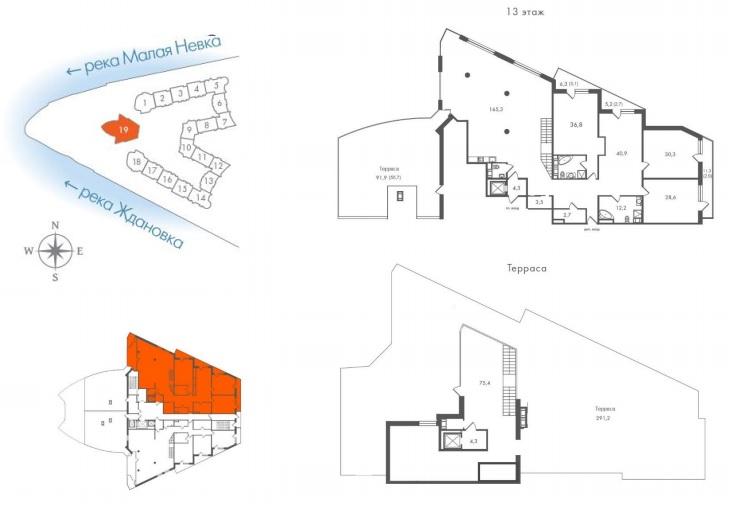 4-комнатная квартира  №19-29 в  Леонтьевский Мыс: 538.9 м², этаж 13 - купить в Санкт-Петербурге