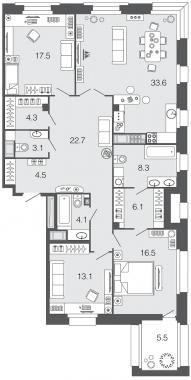 3-комнатная квартира, 133.8 м²; этаж: 8 - купить в Санкт-Петербурге