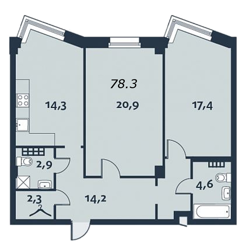 2-комнатная квартира, 78.5 м²; этаж: 3 - купить в Санкт-Петербурге