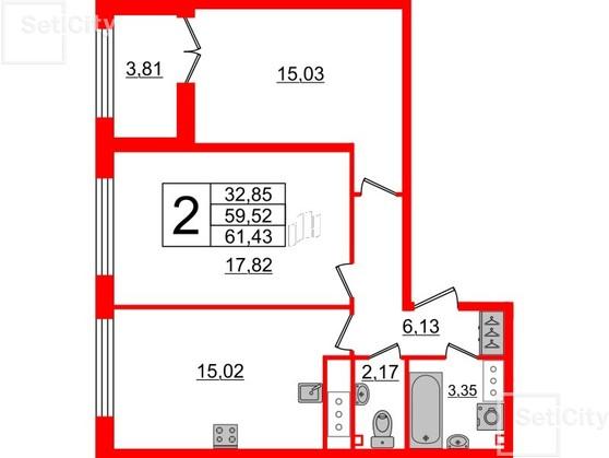 2-комнатная квартира, 59.52 м²; этаж: 7 - купить в Санкт-Петербурге