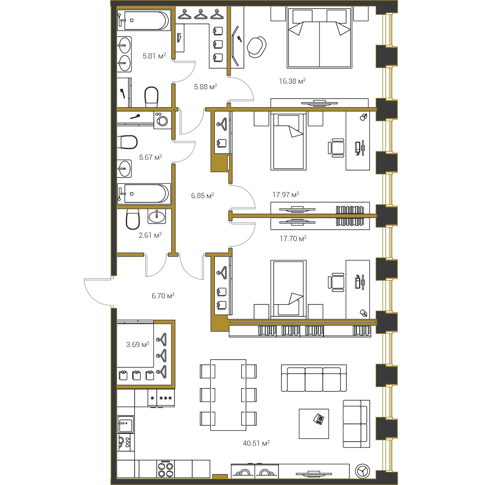 3-комнатная квартира №16 в: Институтский,16: 129.77 м²; этаж: 13 - купить в Санкт-Петербурге